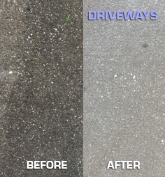 Driveway before & after Michael Panebianco Pressure Cleaning, LLC